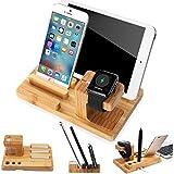 segmoi (TM) hecho a mano de madera natural de bambú usb de carga Dock Station para Apple Watch y soporte soporte de mesa soporte soporte para iPhone iWatch iPad Smartphones y Tablets