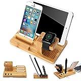 SEGMOI (TM) à la main en bambou naturel en bois USB Station de recharge Dock pour Apple Watch et Support Holder bureau Cradle Stand pour iPhone iWatch iPad Smartphones Tablettes