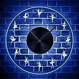 ENLAZY Ballet Pose LED Horloge Murale Acrylic Edge allumé Transparent Horloge décorative Pendaison Multicolore rétroéclairage Quartz Horloge pour Ballerine