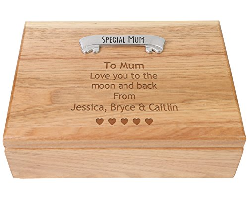 Special Mum Birthday or Christmas Gift Personalised Engraved Jewellery Keepsake Box Gift for Mummy any Occasion from Daughter or Son