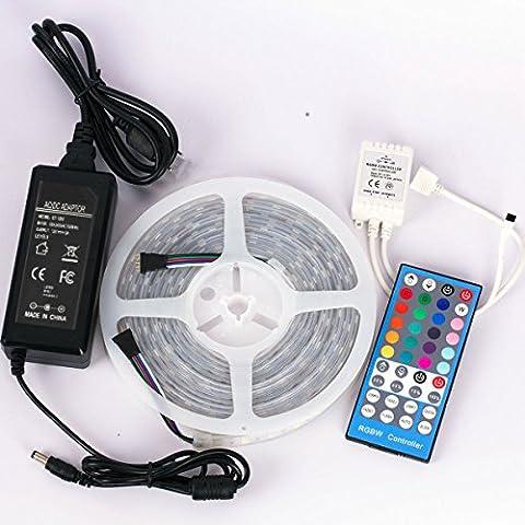 DUMVOIN Tira de Luz Impermeable IP65 LED Flexible 16.4ft 5M RGBW (RGB+Blanco Frío) 5050 (300 LEDs + 40 Teclas IR Remote Control + Adaptador 12V 5A EU) Decoración para Jardín, Navidad, Boda, Fiesta