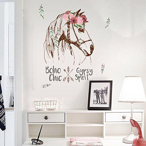 ufengke home Wandtattoo Pferd Geschmückt mit Federn & Blumen Wand Aufkleber mit Boho Chic Gypsy Spirit Worte Dekorative Abnehmbare Wandsticker DIY Vinyl Wall Decal für Wohnzimmer, Schlafzimmer