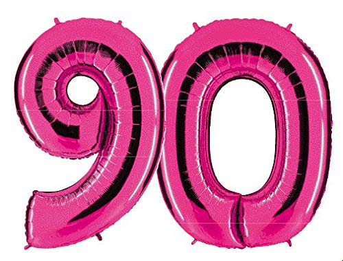 Ballon Zahl 90 in Pink - XXL Riesenzahl 100cm - für Geburtstag Jubiläum & Co - Party Geschenk Dekoration Folienballon Luftballon