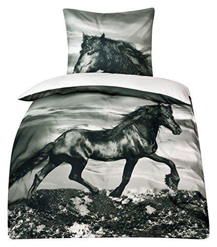 Moon Baumwoll-Satin Pferde Bettwäsche Pferdebettwäsche 135x200 Digitaldruck D496/0901 Friesen Satin