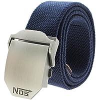 VANKER Nuevo Pretina de las correas de lona hebilla automática cinturón de cintura para hombres mujeres -- azul marino