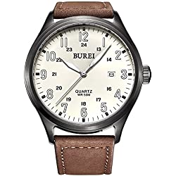 BUREI Unisex Luminous Casual Watches Date Analogue Display with Big Beige Face and Brown Leather Strap