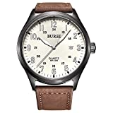 Burei orologio analogico unisex al quarzo con numeri arabi bianchi luminosi e cinturino in pelle marrone