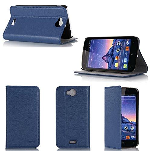 Wiko Cink Peax 2 Tasche Leder Hülle Blau Cover mit Stand - Zubehör Etui Wiko Cink Peax 2 Flip Case Schutzhülle (PU Leder, Handytasche Blau - XEPTIO accessories