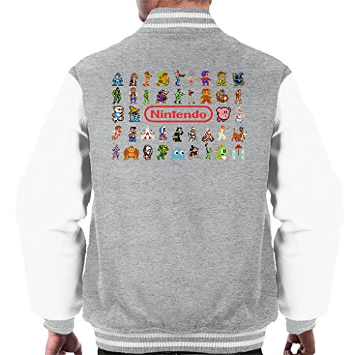 Retro Gaming Console Style Pixel Characters Collage Men's Varsity Jacket