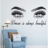 xlei Wandaufkleber Frau Make Up Wandaufkleber Auge Wimpern Wandtattoo Wimpern Extensions Beauty Shop Decor Augenbrauen Brauen Wandbild Schönheit Geschenk 104X57 cm