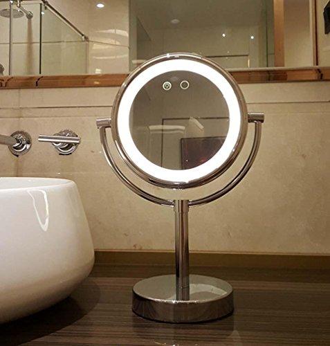 Preisvergleich Produktbild QCBC Einfacher LED-Spiegel mit Lampe Zweiseitiger Schönheitsspiegel Beweglicher Gerader Stab-Licht-Spiegel Zwei-Farbenlicht Geschäfts-Geschenk
