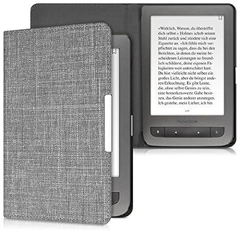 kwmobile Housse Flip pour Pocketbook Touch Lux 3 / Touch Lux 2 / Basic Lux / Basic 3 / Basic Touch 2 - Housse de protection pour E-Book avec motif Design Toile en gris clair
