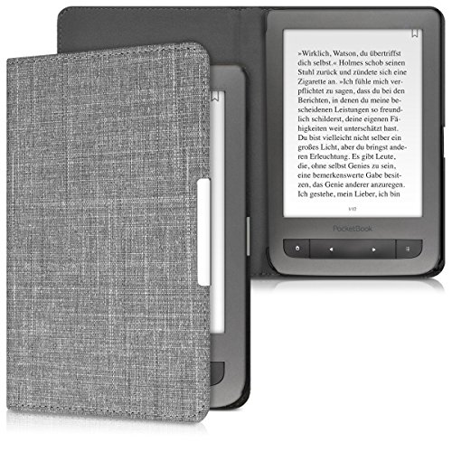 kwmobile Pocketbook Touch Lux 3/Basic Lux/Basic Touch 2 Cover - Custodia a  Libro in Tessuto - Copertina Flip Case per eReader Pocketbook Touch Lux