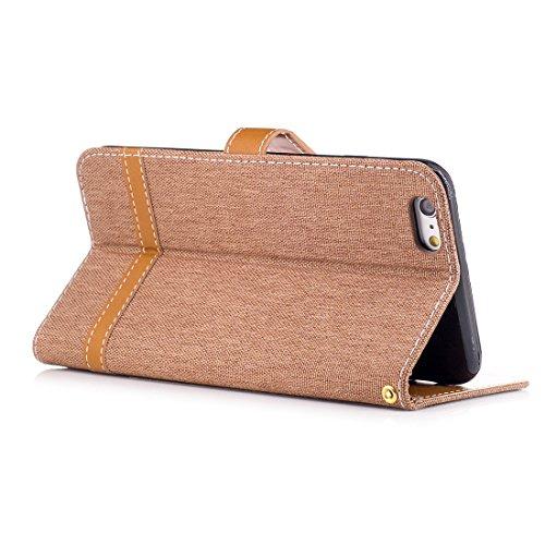Nancen Wallet Case Hülle für Apple iPhone 6 / 6S (4,7 Zoll) ,länglich-Taste Magnet ,Muster Flip Funktion Kartenfächer Etui ,Schütze Dein Telefon Jeans-Muster-3