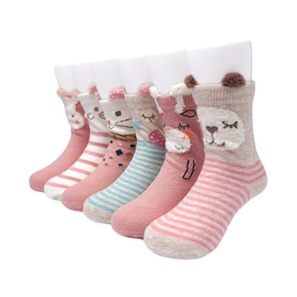 Adorel Calcetines Antideslizantes para Bebé Niñas Paquete de 6 Multicolor 1-3 Años 1