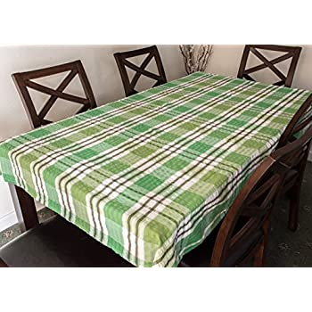 Snugglemore Seersucker 100% Cotton Tablecloth Kitchen Dining Room Garden  Check Table Linen Cover (127cm X 178cm, Green)