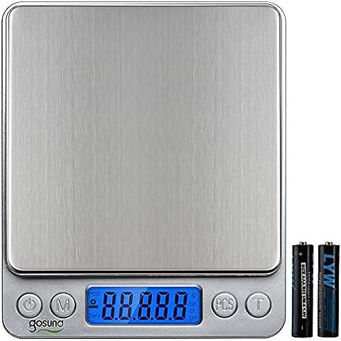 gosund I2000Digital de bolsillo portátil balanza de cocina acero inoxidable Resolución de la pantalla retroiluminada 0.001oz