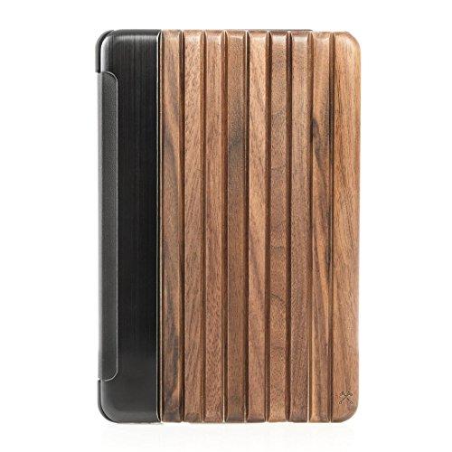 Woodcessories - EcoGuard iPad Case - Premium Design Cover, Hülle für das iPad aus echtem Holz (iPad Mini 4, Walnuss, Hardcover schwarz)