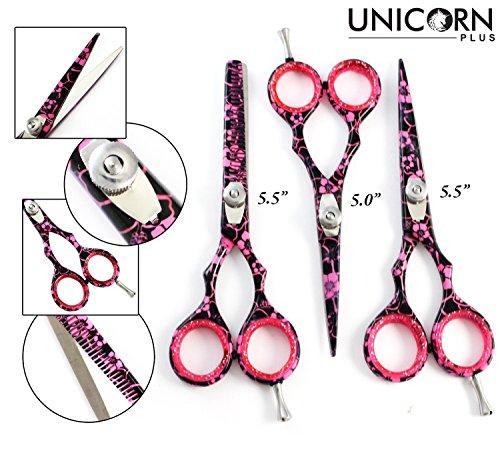 Gefäß-schere (Unicorn Plus Scissors - 3 X Profi Frisuren Scissors - Haare schneiden Schere - Pink & Black Flower Thinning Haar Schere 5,5