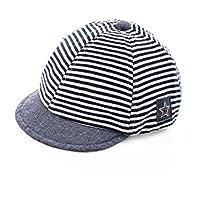 Sombrero de béisbol para el sol. Para bebé recién nacido, diseño de rayas. Gorra visera borde ancho anti-UV protección solar sombrero de playa piscina pesca viaje para niños chicos chicas 2–12meses, color Bleu Foncé, tamaño Unique