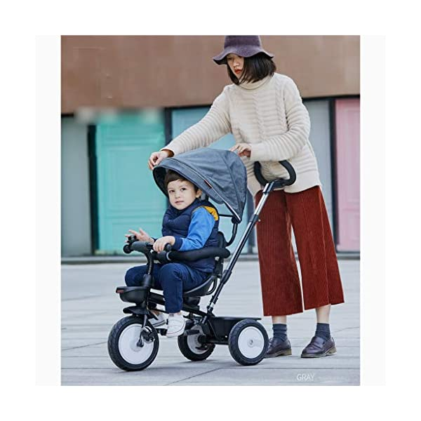 Qi Tai/ Baby trolley Children's Tricycle Bicycle 1-3 Years Old Baby Stroller 2-6 Baby Infant Child 3 Wheeler Large (color : G) Qi Tai The multi-function baby cradle can adjust the seat. Environmentally friendly and antibacterial fabrics are not easily torn or will not be allergic to baby's skin.  Seat: The seat is turned in two directions, easy to rotate, intimate every moment, facing the world to satisfy the baby's curiosity, and intimately interacting with the mother and the baby. 4
