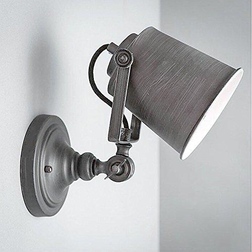 Grande Rétro Industrielle Abat-jour Douille E27 en fer pour Lampe Suspension Murale Edison Ampoule ( Gris Noir )