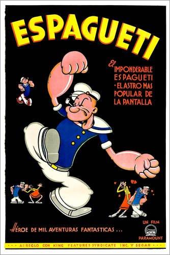 Posterlounge Leinwandbild 20 x 30 cm: Popeye von Everett Collection - fertiges Wandbild, Bild auf Keilrahmen, Fertigbild auf echter Leinwand, Leinwanddruck