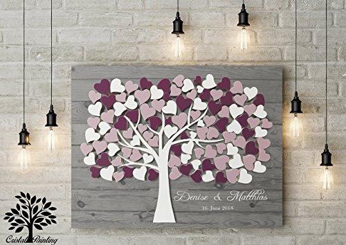 70x50 cm, 3D-Optik Leinwanddruck-Gästebuch von CristalPainting - Hochzeitsbaum, Wedding Tree,...