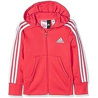 adidas 3S FZ HD Chaqueta, Niñas, (Rojo/Blanco), 128 (7/8 años)