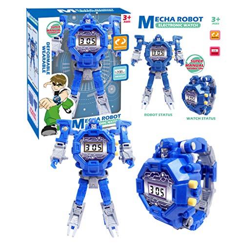 Verformung Roboter Uhr Kinder Elektronische Armbanduhr Roboter Transformation Kreative Cartoon Figuren Spielzeug Kinder GeschenkBlau