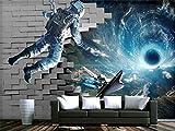 Fotomurales Custom 3D Photo Wallpaper Mural Sala de estar Astronauta Universo Ladrillo 3D Pintura Sofá Tv Fondo de pared de tela de seda Etiqueta de la pared 3D 450X300cm