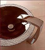 Holzwaschbecken CORONA mit Marmorkieseinlage incl. Ablaufgarnitur und graviertem Stopfen, Waschbecken