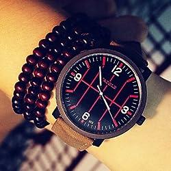 Relojes Hermosos, Yazole mes relojes de baloncesto pantalla luminosa genuina de cuarzo de cuero reloj de pulsera pareja de estudiantes ( Color : Marrón )