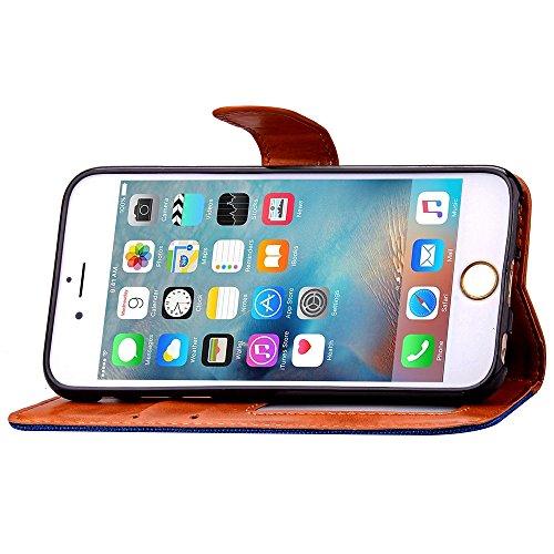 Cover floreale per iPhone 6 Plus/6S Plus, ISAKEN iPhone 6 Plus, motivo a foglie in rilievo, colore: rosso-Custodia in pelle PU a portafoglio, con porta carte di credito, chiusura magnetica, con suppor Brown+black