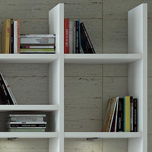 Wohnwand Bücherregal CD DVD Regal TOLEO238 Hochglanz weiß, LED - 3