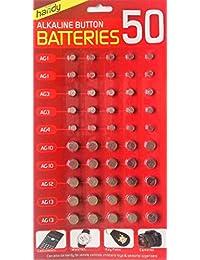 Baterías Slamtech polimorfonuclear AG1/AG3/AG4/AG10/AG12/ga13 para Calulators, relojes y mucho más (50 unidades)