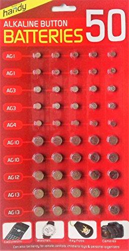 Slamtech®- batterie assortite ag1/ag3/ag4/ag10/ag12/ag13per calcolatrici, orologi e altri dispositivi (confezione da 50)