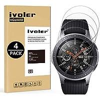 iVoler [4 Unidades] Protector de Pantalla Compatible con Samsung Galaxy Watch 46mm, Cristal Vidrio Templado Premium para Samsung Galaxy Watch 46mm [Dureza 9H] [Anti-Arañazos] [Sin Burbujas]