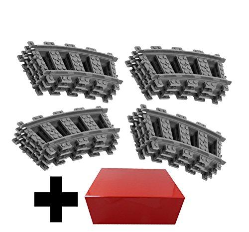 16 x Gebogene Kurvenschienen für Lego City Eisenbahn (Wird mit Geschenkpackung geliefert)