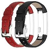 Vancle Für Fitbit Alta Alta HR Ersatz Armband, Leder Uhrenarmband Anpassbare Bequemen Fitbit Alta Ersatz Armbänder mit Edelstahl Schnalle (Kein Tracker) (2-Schwarz & Rot)
