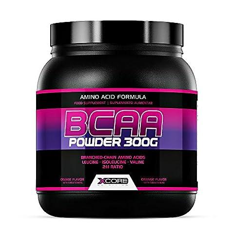 Xcore Nutrition BCAA Powder 300 g : Goût Pomme Verte et Formule aux Acides Aminés de Qualité - Rapport 2:1:1 - Qualité Pure pour une Force et une Absorption Maximum - 60 Portions