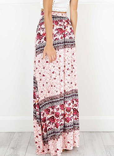 Azbro Women's Bohemian High Slit Floral Printed Maxi Skirt Pink