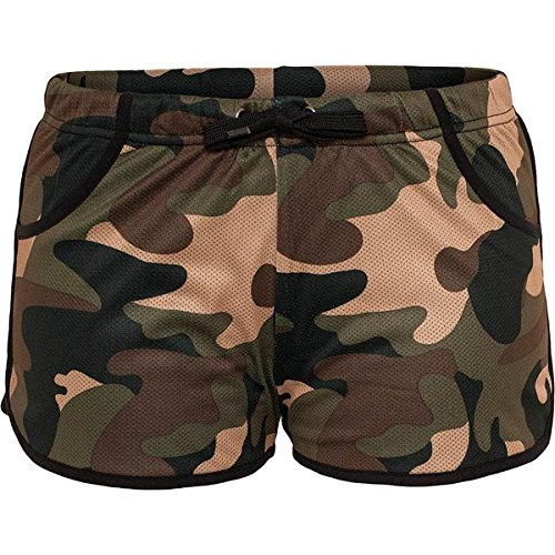 Urban Classics Ladies Camo Mesh Jersey Lined Hot Pant TB728, Größe:M;Farbe:woodcamo/blk (TB728) (Jersey Classic Shorts)