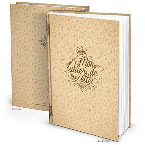 'XXL Recipe Book French Mon cahier de Recettes Vintage A4 164 Blank Pages with Table of Contents, Build a Book and Writing.