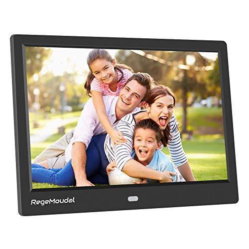 Digitaler Bilderrahmen, RegeMoudal 10 Zoll 1080P HD IPS LCD Panel Ultra Breitbild mit Fernbedienung, Unterstützt 32G SD und USB und Multi-Format für Video Musik FotoBilder und Videos