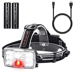 Akale LED Stirnlampe,USB Wiederaufladbare Weiß und Rot Light LED Kopflampe, wasserdichter Stirnlampe ,Perfekt fürs Laufen, Joggen, Angeln, Campen, für Kinder und mehr
