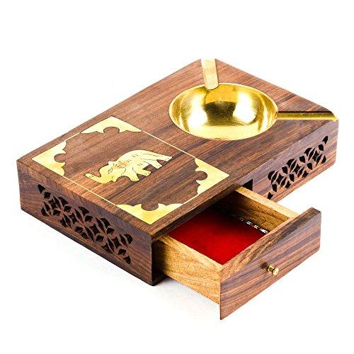 rusticity Cenicero de madera, con estuche de cigarrillos–7en x 5en–Soporte de mechero diseño de elefante, Cenicero de latón con cajón–fabricado en palisandro indio