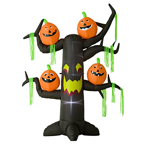 Homcom® Aufblasbarer Spukbaum Kürbis Halloween Deko Figur Luftfigur mit LED Beleuchtung, Polyester, (Halloween Deko Figuren)