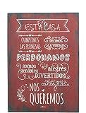 Enkolor/Cuadro Madera/Frases positivas/Normas de la casa/Artesanal/Teja/40X60cm.