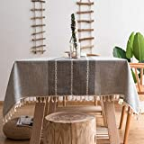 Deggodech Simple Nappe Rectangulaire Anti Tache Tissu avec Tassel Nappe de Table Lavable Coton Lin Moderne pour Décoration de Table de Cuisine (Gris, 140 * 200cm/55 * 79inch)
